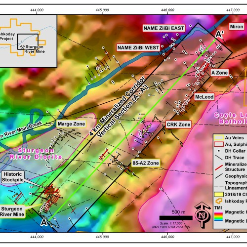 TMI of Ishkoday Property and Mineralized and Zones